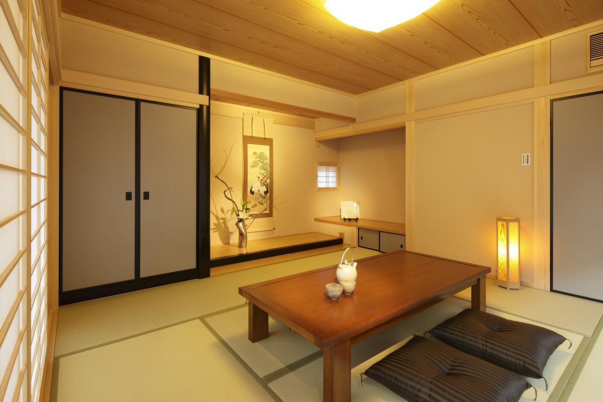 家全体はスタイリッシュな創りですが、高級感に合わせても遜色のない和室に。